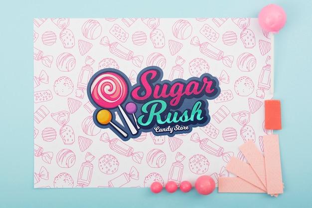 Maquete de corrida de açúcar e moldura rosa Psd grátis