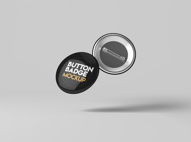 Maquete de crachá de botão Psd Premium