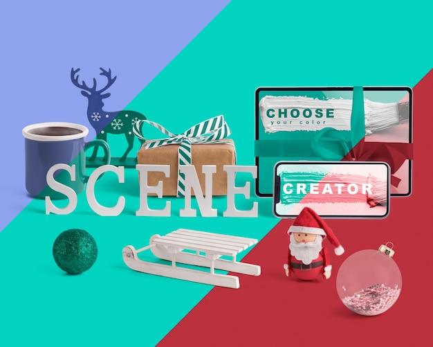 Maquete de criador de cena com conceito de natal Psd grátis