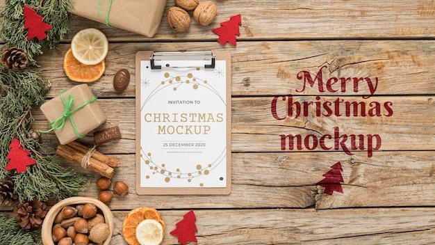 Maquete de decoração de natal vista superior Psd Premium