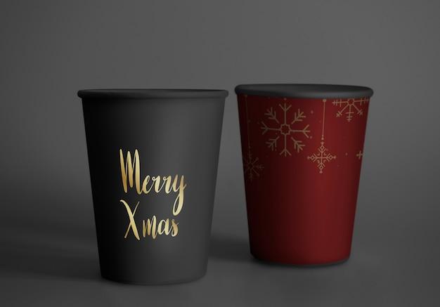 Maquete de design de copo de papel festivo Psd grátis