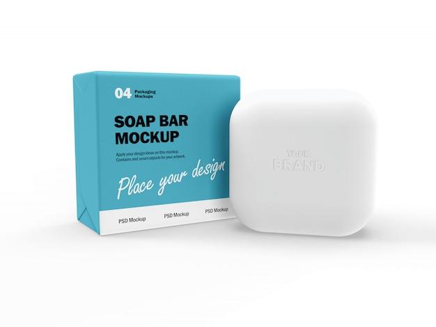 Maquete de design de embalagem 3d de sabonete quadrado e caixa Psd Premium