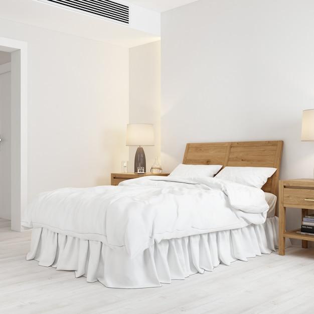 Maquete de design de interiores com cama e apoio de cabeça de cama de madeira Psd grátis