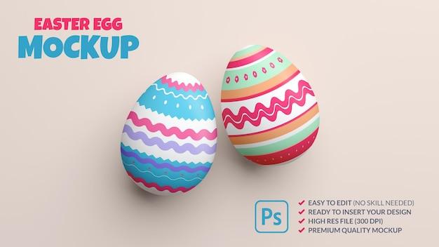 Maquete de dois ovos de páscoa pintados em renderização 3d Psd Premium