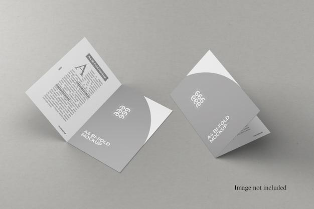 Maquete de duas dobras a4 com vista frontal Psd Premium