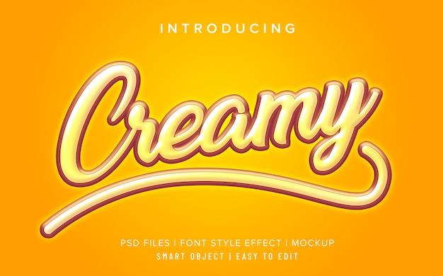 Maquete de efeito de estilo de fonte cremoso amarelo Psd Premium