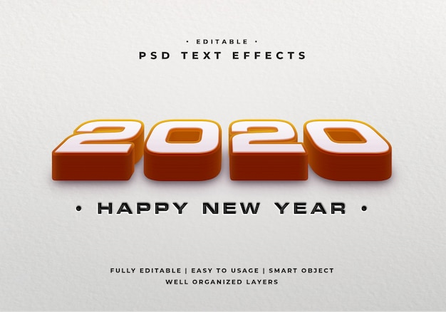 Maquete de efeito de estilo de texto 3d 2020 Psd Premium