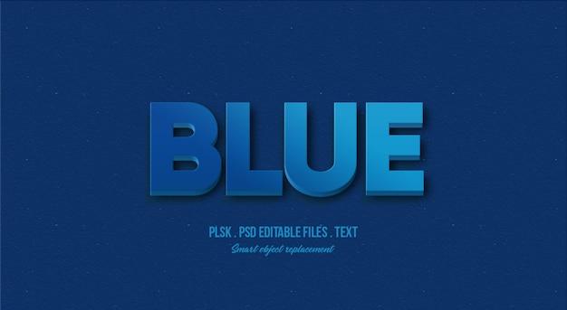 Maquete de efeito de estilo de texto 3d azul Psd Premium