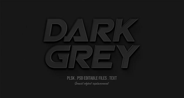 Maquete de efeito de estilo de texto 3d cinza escuro Psd Premium
