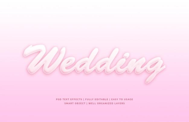 Maquete de efeito de estilo de texto 3d de casamento Psd Premium