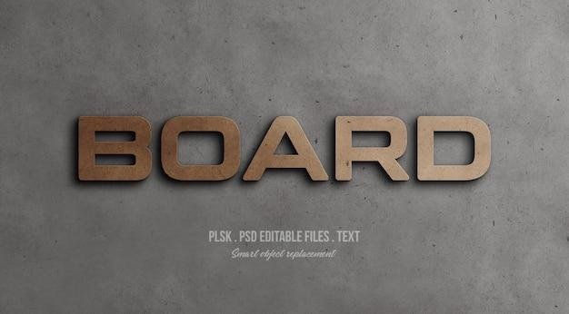 Maquete de efeito de estilo de texto 3d de placa Psd Premium