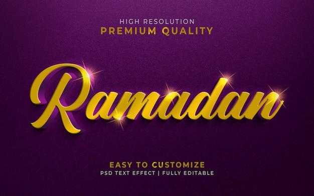 Maquete de efeito de estilo de texto ramadan luxuoso 3d Psd Premium
