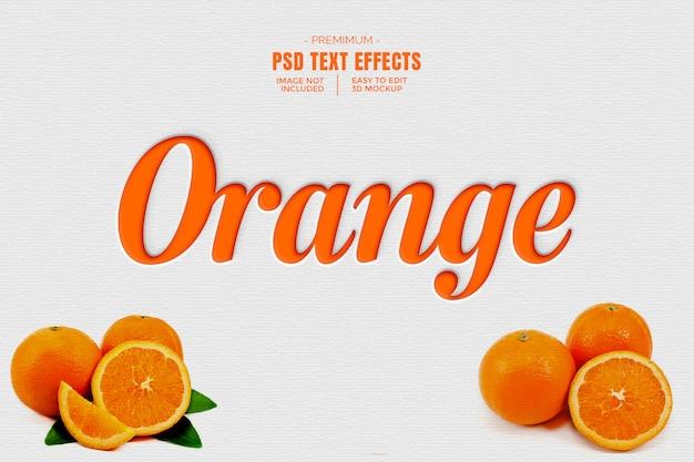 Maquete de efeito de texto 3d laranja Psd Premium