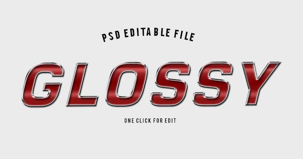 Maquete de efeito de texto brilhante vermelho alfabeto 3d Psd Premium