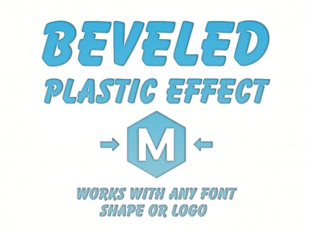 Maquete de efeito de texto de plástico chanfrada Psd Premium