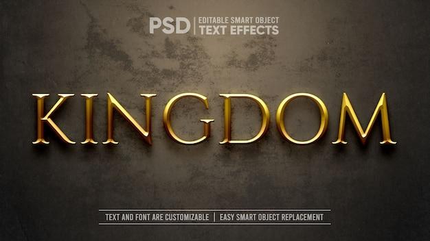Maquete de efeito de texto dramático do reino medieval de ouro Psd Premium