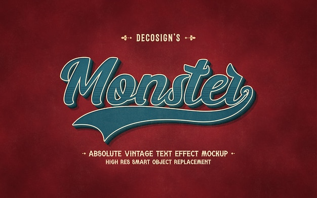Maquete de efeito de texto monstro vintage Psd Premium