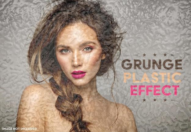 Maquete de efeito fotográfico de plástico grunge Psd Premium