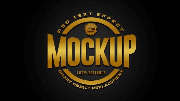Maquete de efeitos de texto em ouro e preto Psd Premium