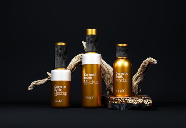 Maquete de embalagem de frasco cosmético extravagante versão ouro Psd Premium