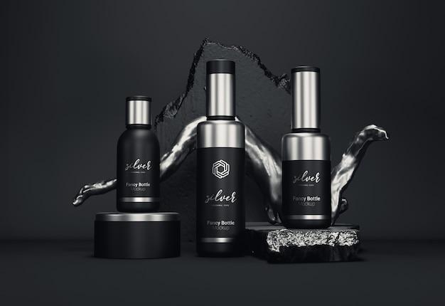 Maquete de embalagem de frasco cosmético extravagante versão prata Psd Premium
