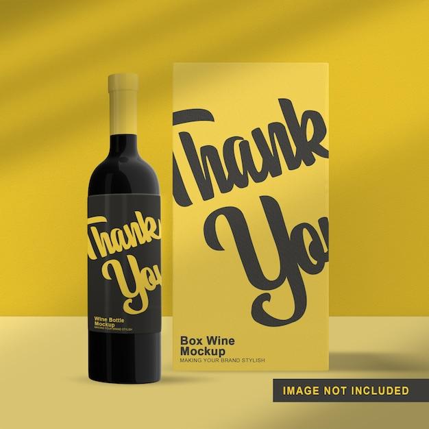 Maquete de embalagem de garrafa de vinho isolada com caixa Psd Premium