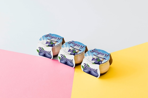 Maquete de embalagem de iogurte Psd grátis