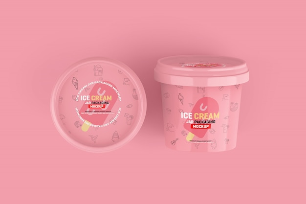 Maquete de embalagem de jarra de sorvete Psd Premium