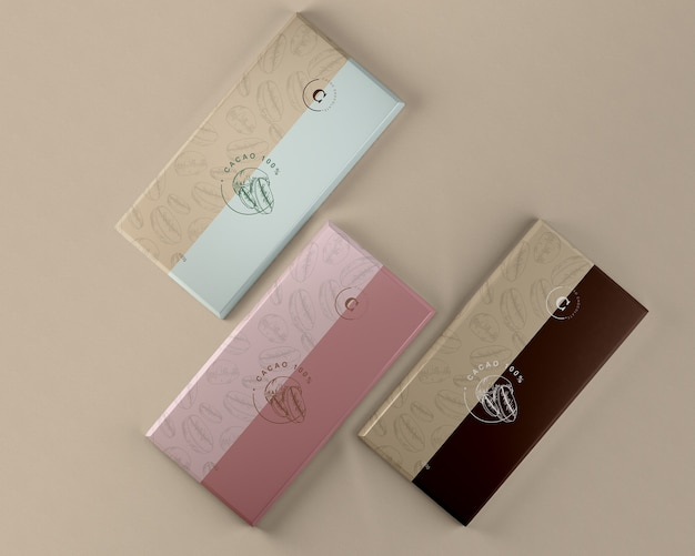 Maquete de embalagem de papel de tabletes de chocolate Psd grátis