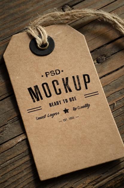 Maquete de etiqueta de preço de papel marrom Psd Premium