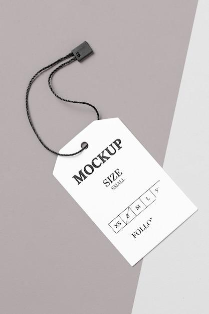 Maquete de etiqueta de tamanho branco de roupas Psd grátis