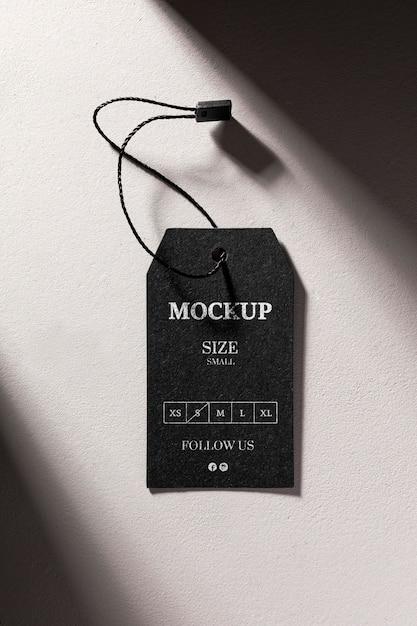 Maquete de etiqueta de tamanho preto com sombras Psd grátis