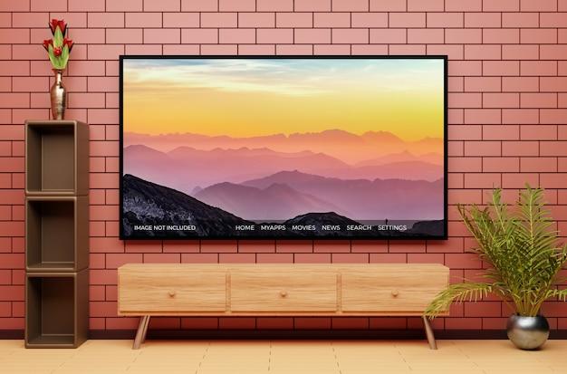 Maquete de exibição de televisão moderna com belo interior Psd Premium