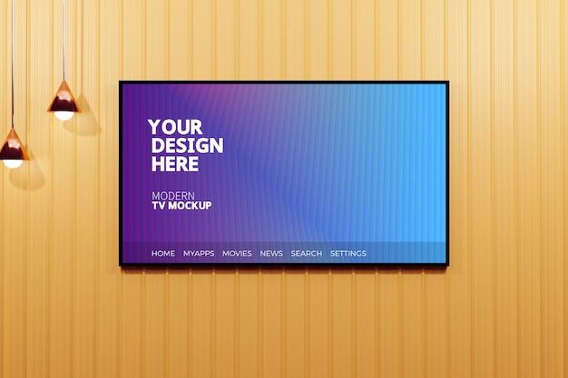 Maquete de exibição de televisão moderna editável Psd Premium