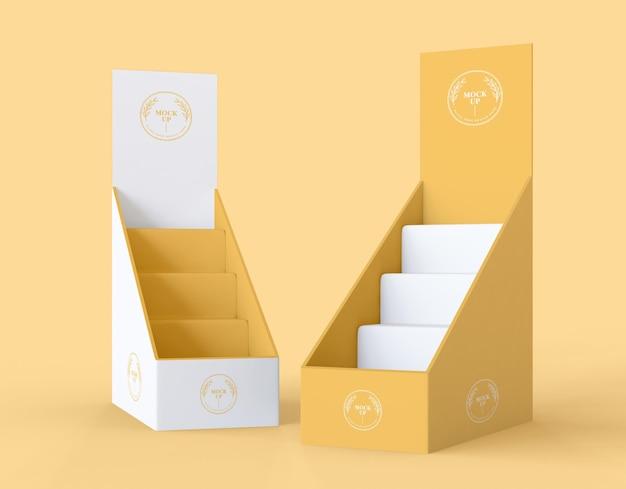 Maquete de expositores amarelos minimalistas de vista frontal Psd grátis