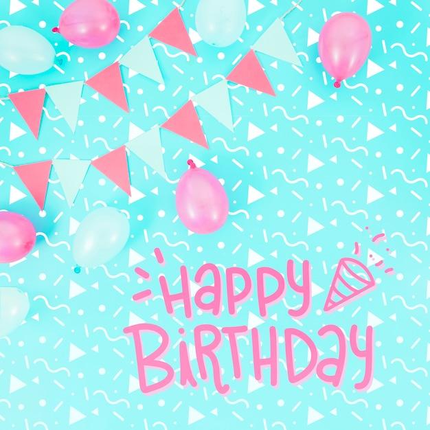 Maquete de feliz aniversário e balões rosa Psd grátis