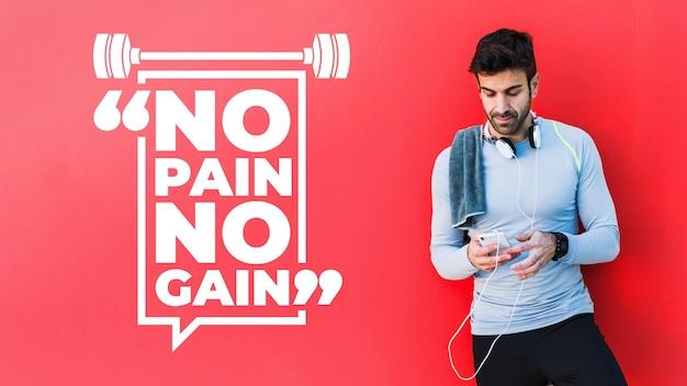 Maquete de fitness com citação Psd grátis
