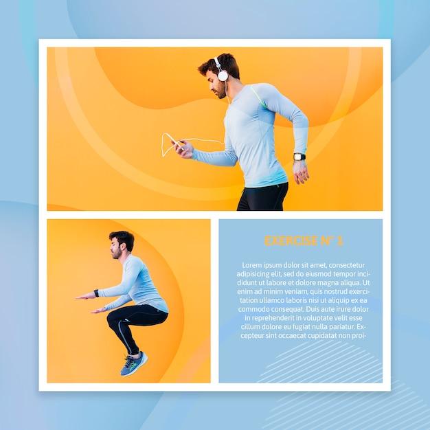 Maquete de fitness com imagem Psd grátis