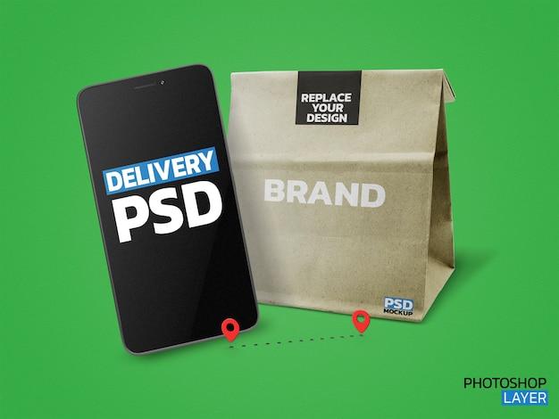 Maquete de foto de saco de papel Psd Premium