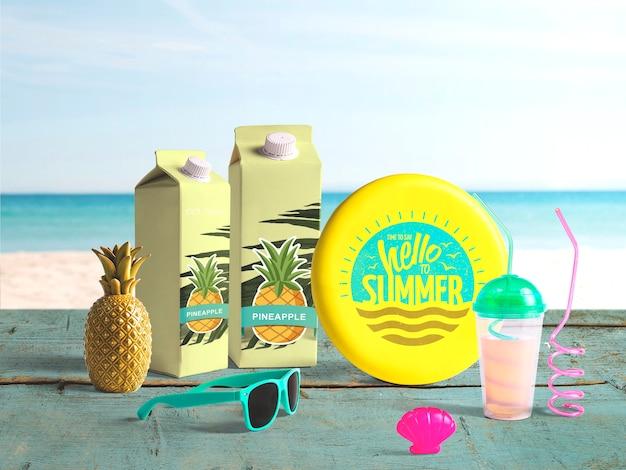 Maquete de frisbee editável com elementos de verão Psd grátis