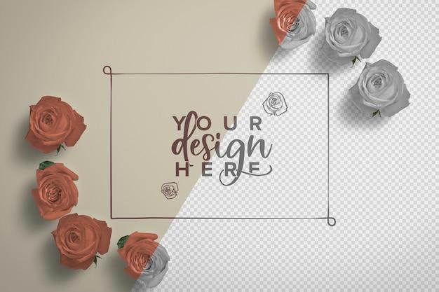 Maquete de fundo de quadro de rosas Psd grátis
