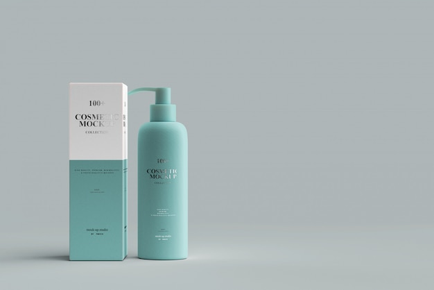 Maquete de garrafa de bomba cosmética Psd Premium