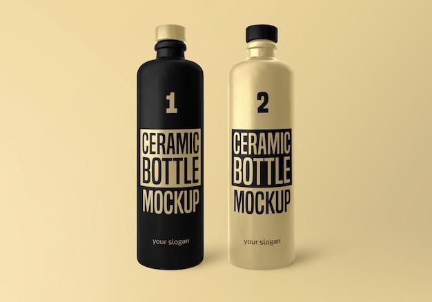 Maquete de garrafa de cerâmica fosca Psd Premium