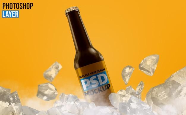 Maquete de garrafa de cerveja de vidro âmbar Psd Premium
