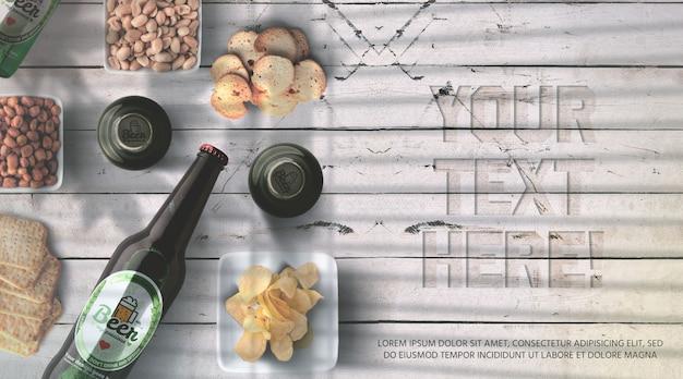 Maquete de garrafa de cerveja realista e vista superior de maquete Psd Premium