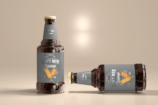 Maquete de garrafa de cerveja Psd grátis