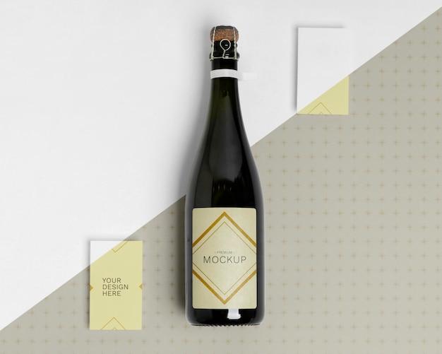 Maquete de garrafa de champanhe feliz ano novo Psd grátis