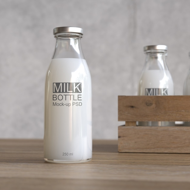 Maquete de garrafa de leite Psd Premium