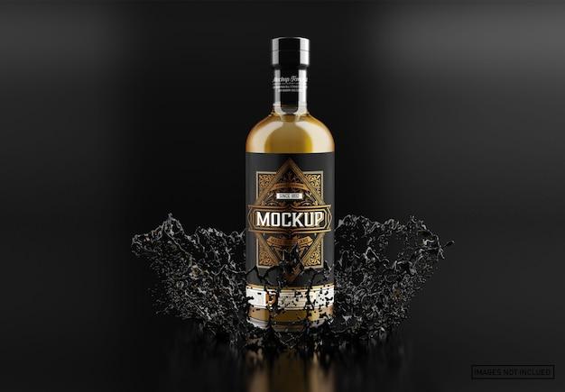 Maquete de garrafa de uísque de vidro transparente Psd Premium