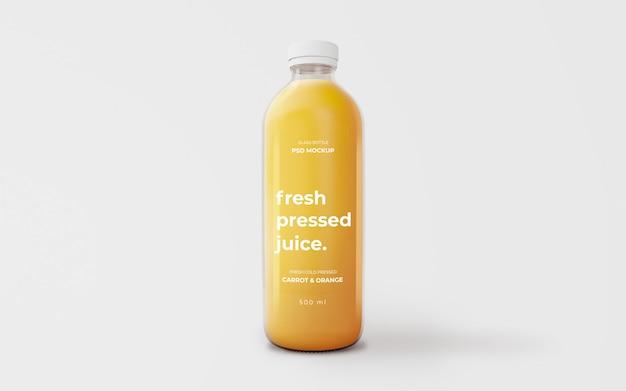Maquete de garrafa de vidro de suco de laranja totalmente editável Psd grátis